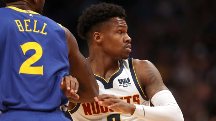 DENVER, COLORADO - JANUARY 15: Brandon Goodwin #6 of the Denver Nuggets plays the Golden State Warriors at the Pepsi Center on January 15, 2019 in Denver, Colorado. NOTE TO USER: User expressly acknowledges and agrees that, by downloading and or using this photograph, User is consenting to the terms and conditions of the Getty Images License Agreement. (Photo by Matthew Stockman/Getty Images)