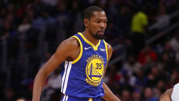 DETROIT, MICHIGAN - DECEMBER 01:  Kevin Durant #35 of the Golden State Warriors while playing the Detroit Pistons at Little Caesars Arena on December 01, 2018 in Detroit, Michigan. NOTE TO USER: User expressly acknowledges and agrees that, by downloading and or using this photograph, User is consenting to the terms and conditions of the Getty Images License Agreement. (Photo by Gregory Shamus/Getty Images)