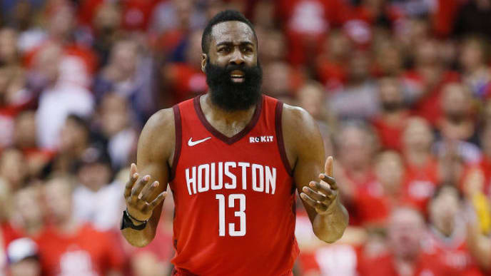 HOUSTON, TEXAS - MAY 10: James Harden #13 of the Houston Rockets reacts after being called for a foul against the Golden State Warriors  during Game Six of the Western Conference Semifinals of the 2019 NBA Playoffs at Toyota Center on May 10, 2019 in Houston, Texas. NOTE TO USER: User expressly acknowledges and agrees that, by downloading and or using this photograph, User is consenting to the terms and conditions of the Getty Images License Agreement. (Photo by Bob Levey/Getty Images)