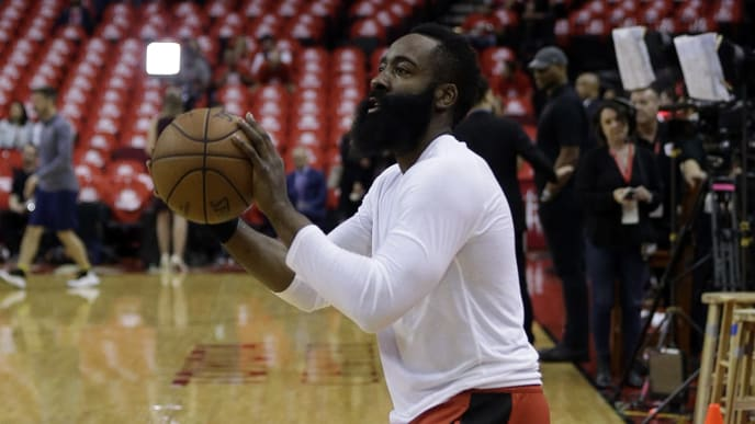 HOUSTON, TEXAS - MAY 10: James Harden #13 of the Houston Rockets warms up  before Game Six of the Western Conference Semifinals of the 2019 NBA Playoffs at Toyota Center on May 10, 2019 in Houston, Texas. NOTE TO USER: User expressly acknowledges and agrees that, by downloading and or using this photograph, User is consenting to the terms and conditions of the Getty Images License Agreement. (Photo by Bob Levey/Getty Images)
