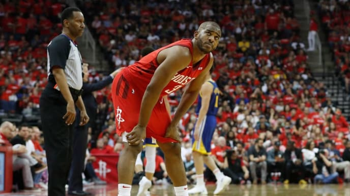 HOUSTON, TX - MAY 04:  Chris Paul #3 of the Houston Rockets reacts in the second quarter during Game Three of the Second Round of the 2019 NBA Western Conference Playoffs Golden State Warriors at Toyota Center on May 4, 2019 in Houston, Texas.  NOTE TO USER: User expressly acknowledges and agrees that, by downloading and or using this photograph, User is consenting to the terms and conditions of the Getty Images License Agreement.  (Photo by Tim Warner/Getty Images)