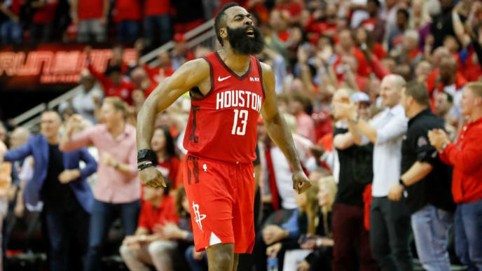 HOUSTON, TX - MAY 04:  James Harden #13 of the Houston Rockets reacts after  Game Three of the Second Round of the 2019 NBA Western Conference Playoffs against the Golden State Warriors at Toyota Center on May 4, 2019 in Houston, Texas.  NOTE TO USER: User expressly acknowledges and agrees that, by downloading and or using this photograph, User is consenting to the terms and conditions of the Getty Images License Agreement.  (Photo by Tim Warner/Getty Images)
