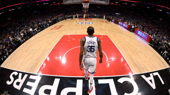 LOS ANGELES, CALIFORNIA - APRIL 26:  Kevin Durant #35 of the Golden State Warriors waits in the backcourt, scoring 50 points, in a 129-110 win over the LA Clippers during Game Six of Round One of the 2019 NBA Playoffs at Staples Center on April 26, 2019 in Los Angeles, California. (Photo by Harry How/Getty Images)  NOTE TO USER: User expressly acknowledges and agrees that, by downloading and or using this photograph, User is consenting to the terms and conditions of the Getty Images License Agreement.
