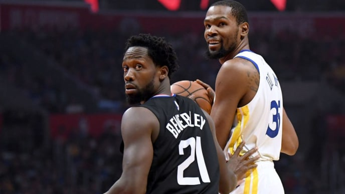 LOS ANGELES, CALIFORNIA - APRIL 18:  Patrick Beverley #21 of the LA Clippers reacts to his foul on Kevin Durant #35 of the Golden State Warriors during Game Two of Round One of the 2019 NBA Playoffs at Staples Center on April 18, 2019 in Los Angeles, California. (Photo by Harry How/Getty Images)  NOTE TO USER: User expressly acknowledges and agrees that, by downloading and or using this photograph, User is consenting to the terms and conditions of the Getty Images License Agreement.
