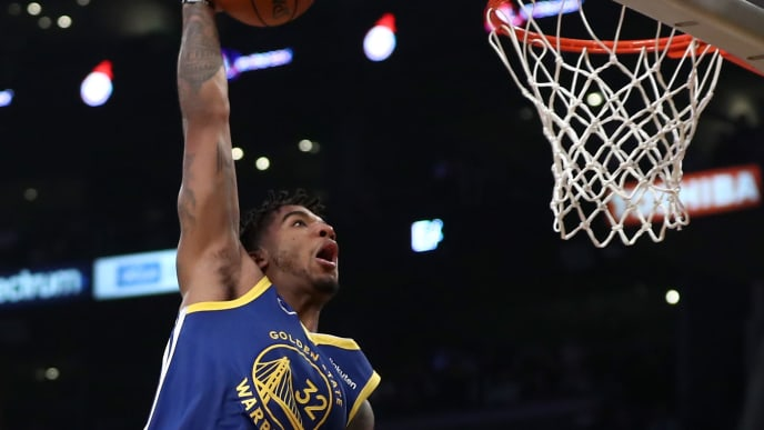LOS ANGELES, CALIFORNIA - OCTOBER 16:  Marquese Chriss #32 of the Golden State Warriors dunks the ball during the first half of a game against the Los Angeles Lakers at Staples Center on October 16, 2019 in Los Angeles, California. (Photo by Sean M. Haffey/Getty Images)