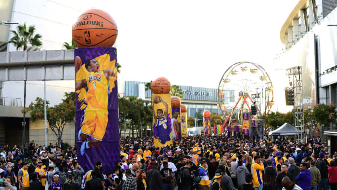 LOS ANGELES, CA - DECEMBER 18:  View of fans at  Kobeland before a jersey retirement ceremony for Kobe Bryant's #8 and #24 of the Los Angeles Lakers at Staples Center on December 18, 2017 in Los Angeles, California.  (Photo by Harry How/Getty Images)