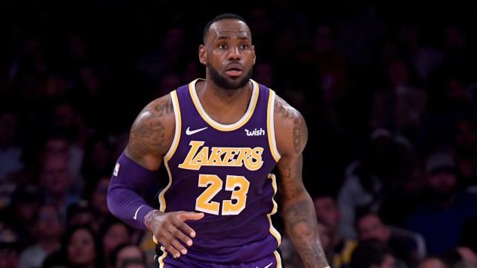 LOS ANGELES, CALIFORNIA - NOVEMBER 13:  LeBron James #23 of the Los Angeles Lakers brings the ball up court during a 120-94 Lakers win over the Golden State Warriors at Staples Center on November 13, 2019 in Los Angeles, California.  NOTE TO USER: User expressly acknowledges and agrees that, by downloading and/or using this photograph, user is consenting to the terms and conditions of the Getty Images License Agreement. (Photo by Harry How/Getty Images)