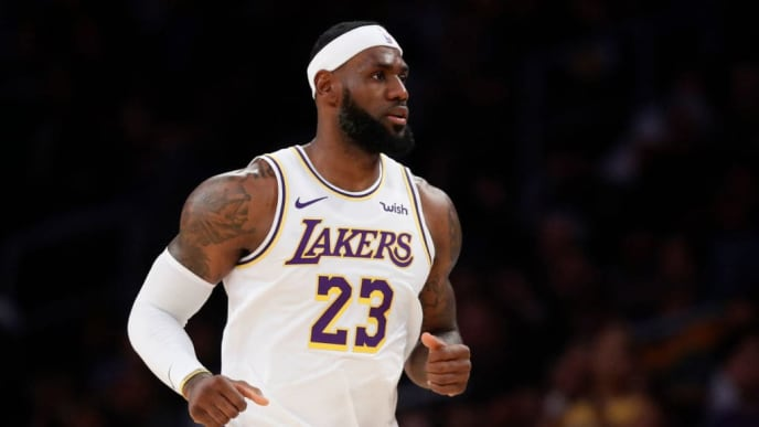 LOS ANGELES, CALIFORNIA - OCTOBER 16: LeBron James #23 of the Los Angeles Lakers looks on during the first half of a game against the Golden State Warriors at Staples Center on October 16, 2019 in Los Angeles, California. (Photo by Sean M. Haffey/Getty Images)
