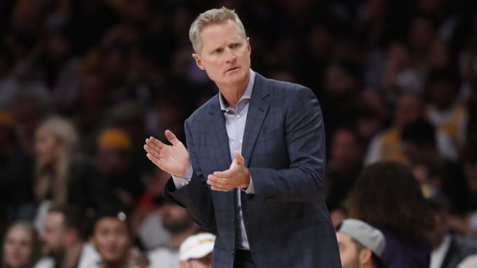 LOS ANGELES, CALIFORNIA - OCTOBER 16:  Head Coach Steve Kerr of the Golden State Warriors coaches from the bench during the first half of a game against the Los Angeles Lakers at Staples Center on October 16, 2019 in Los Angeles, California. (Photo by Sean M. Haffey/Getty Images)