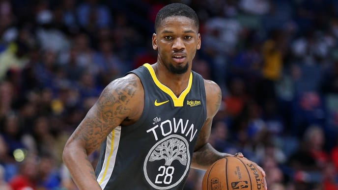 NEW ORLEANS, LOUISIANA - APRIL 09: Alfonzo McKinnie #28 of the Golden State Warriors drives with the ball during the first half against the New Orleans Pelicans at the Smoothie King Center on April 09, 2019 in New Orleans, Louisiana. NOTE TO USER: User expressly acknowledges and agrees that, by downloading and or using this photograph, User is consenting to the terms and conditions of the Getty Images License Agreement. (Photo by Jonathan Bachman/Getty Images)