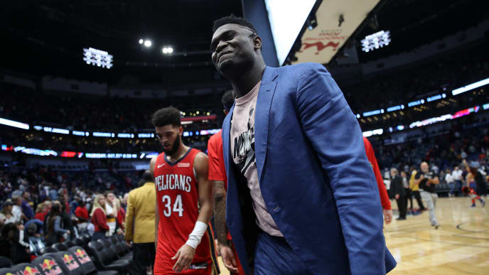 NEW ORLEANS, LOUISIANA - OCTOBER 28: Zion Williamson #1 of the New Orleans Pelicans looks on during the game against the Golden State Warriors at Smoothie King Center on October 28, 2019 in New Orleans, Louisiana. NOTE TO USER: User expressly acknowledges and agrees that, by downloading and/or using this photograph, user is consenting to the terms and conditions of the Getty Images License Agreement (Photo by Chris Graythen/Getty Images)