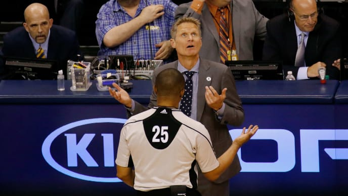 OKLAHOMA CITY, OK - MAY 22:  Head coach Steve Kerr of the Golden State Warriors argues with referee Tony Brothers #25 in the second quarter against the Oklahoma City Thunder in game three of the Western Conference Finals during the 2016 NBA Playoffs at Chesapeake Energy Arena on May 22, 2016 in Oklahoma City, Oklahoma. NOTE TO USER: User expressly acknowledges and agrees that, by downloading and or using this photograph, User is consenting to the terms and conditions of the Getty Images License Agreement.  (Photo by J Pat Carter/Getty Images)