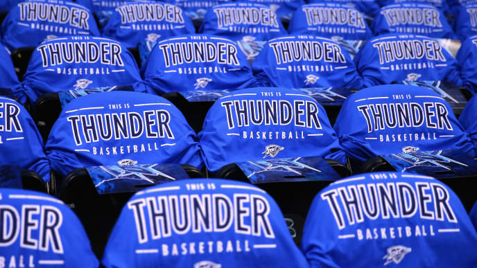 OKLAHOMA CITY, OK - MAY 28:  A detailed view of Oklahoma City Thunder t-shirts on chairs prior to game six of the Western Conference Finals between the Oklahoma City Thunder and the Golden State Warriors during the 2016 NBA Playoffs at Chesapeake Energy Arena on May 28, 2016 in Oklahoma City, Oklahoma. NOTE TO USER: User expressly acknowledges and agrees that, by downloading and or using this photograph, User is consenting to the terms and conditions of the Getty Images License Agreement.  (Photo by Maddie Meyer/Getty Images)