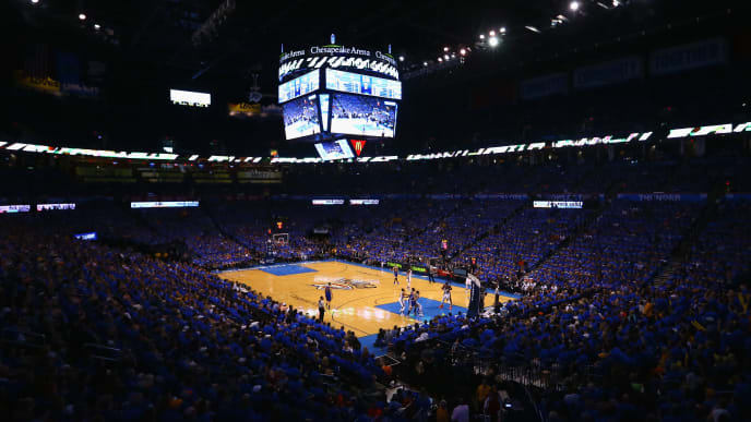 OKLAHOMA CITY, OK - MAY 28:  A general view of Chesapeake Energy Arena during the first half in game six of the Western Conference Finals between the Oklahoma City Thunder and the Golden State Warriors during the 2016 NBA Playoffs on May 28, 2016 in Oklahoma City, Oklahoma. NOTE TO USER: User expressly acknowledges and agrees that, by downloading and or using this photograph, User is consenting to the terms and conditions of the Getty Images License Agreement.  (Photo by Maddie Meyer/Getty Images)