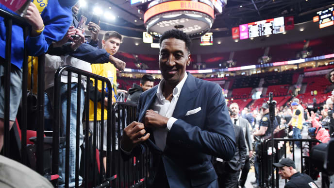 PORTLAND, OREGON - MAY 20: Former NBA player Scottie Pippen looks on prior to game four of the NBA Western Conference Finals between the Golden State Warriors and the Portland Trail Blazers at Moda Center on May 20, 2019 in Portland, Oregon. NOTE TO USER: User expressly acknowledges and agrees that, by downloading and or using this photograph, User is consenting to the terms and conditions of the Getty Images License Agreement. (Photo by Steve Dykes/Getty Images)