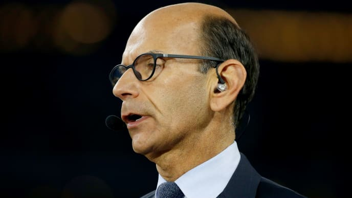 ARLINGTON, TX - DECEMBER 31:  TV/radio personality Paul Finebaum of the SEC Network speaks on air before the Goodyear Cotton Bowl at AT&T Stadium on December 31, 2015 in Arlington, Texas.  (Photo by Scott Halleran/Getty Images)