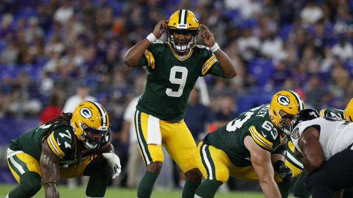 BALTIMORE, MARYLAND - AUGUST 15: DeShone Kizer #9 of the Green Bay Packers calls a play at the line of scrimmage in the first half of a preseason game against the Baltimore Ravens at M&T Bank Stadium on August 15, 2019 in Baltimore, Maryland. (Photo by Todd Olszewski/Getty Images)