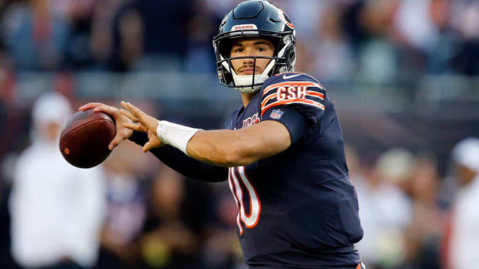 CHICAGO, ILLINOIS - SEPTEMBER 05: Mitchell Trubisky #10 of the Chicago Bears warms up prior to the game against the Green Bay Packers at Soldier Field on September 05, 2019 in Chicago, Illinois. (Photo by Nuccio DiNuzzo/Getty Images)