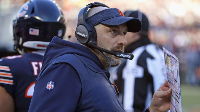 CHICAGO, IL - DECEMBER 16:  Head coach Matt Naty of the Chicago Bears watches as his team takes on the Green Bay Packers at Soldier Field on December 16, 2018 in Chicago, Illinois. The Bears defeated the Packers 24-17.  (Photo by Jonathan Daniel/Getty Images)