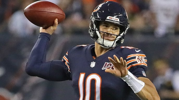 CHICAGO, ILLINOIS - SEPTEMBER 05: Mitchell Trubisky #10 of the Chicago Bears passes against the Green Bay Packers at Soldier Field on September 05, 2019 in Chicago, Illinois. (Photo by Jonathan Daniel/Getty Images)