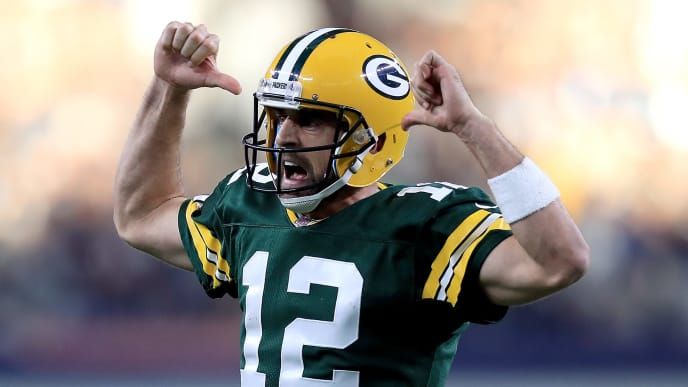 ARLINGTON, TX - OCTOBER 08:  Aaron Rodgers #12 of the Green Bay Packers reacts after throwing the game winning touchdown against the Dallas Cowboys in the fourth quarter at AT&T Stadium on October 8, 2017 in Arlington, Texas.  (Photo by Ronald Martinez/Getty Images)