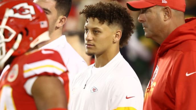 KANSAS CITY, MISSOURI - OCTOBER 27: Patrick Mahomes #15 of the Kansas City Chiefs stands on the field prior to their NFL game against the Green Bay Packers at Arrowhead Stadium on October 27, 2019 in Kansas City, Missouri. (Photo by Jamie Squire/Getty Images)