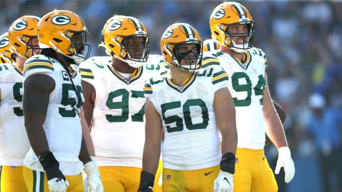 CARSON, CALIFORNIA - NOVEMBER 03:  Blake Martinez #50, Kenny Clark #97, Za'Darius Smith #55 and Dean Lowry #94 of the Green Bay Packers look on during the second half of a game against the Los Angeles Chargers at Dignity Health Sports Park on November 03, 2019 in Carson, California. (Photo by Sean M. Haffey/Getty Images)