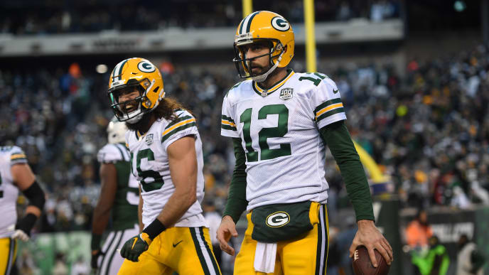 EAST RUTHERFORD, NJ - DECEMBER 23: Aaron Rodgers #12 of the Green Bay Packers celebrates with Jake Kumerow #16 after scoring a touchdown against the New York Jets in the fourth quarter  during the at MetLife Stadium on December 23, 2018 in East Rutherford, New Jersey.  (Photo by Sarah Stier/Getty Images)
