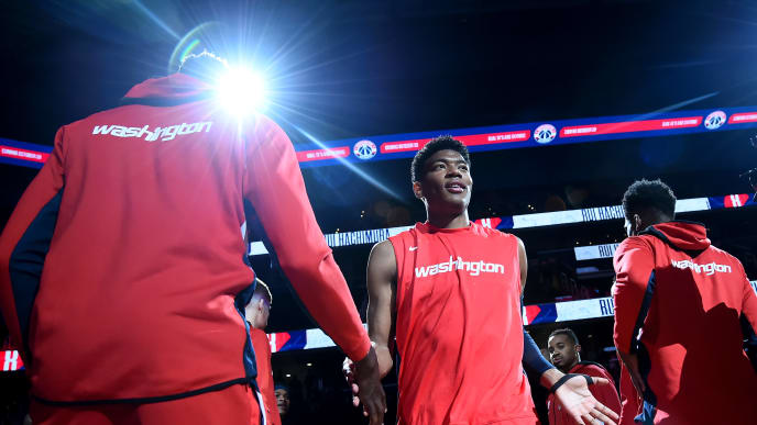 WASHINGTON, DC - OCTOBER 09: Rui Hachimura #8 of the Washington Wizards is introduced prior to playing against the Guangzhou Long-Lions at Capital One Arena on October 9, 2019 in Washington, DC. NOTE TO USER: User expressly acknowledges and agrees that, by downloading and or using this photograph, User is consenting to the terms and conditions of the Getty Images License Agreement. (Photo by Will Newton/Getty Images)