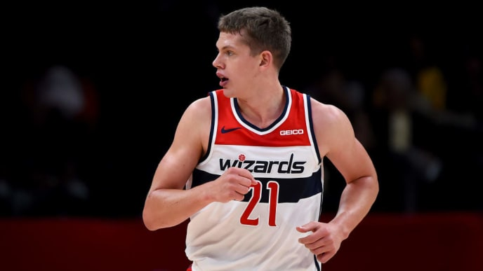 WASHINGTON, DC - OCTOBER 09: Moe Wagner #21 of the Washington Wizards runs against the Guangzhou Long-Lions during the first half at Capital One Arena on October 9, 2019 in Washington, DC. NOTE TO USER: User expressly acknowledges and agrees that, by downloading and or using this photograph, User is consenting to the terms and conditions of the Getty Images License Agreement. (Photo by Will Newton/Getty Images)