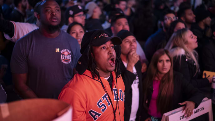 HOUSTON, TX - OCTOBER 30: Fans of the Houston Astros react to losing the lead to the Washington Nationals in game 7 of The World Series October 30, 2019 in Houston, Texas. After a three run inning in the 7th, The Washington Nationals took the lead and would go on to win game 7 and their first ever franchise World Series. (Photo by Sergio Flores/Getty Images)