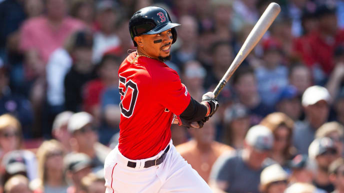 BOSTON - MAY 19:  Mookie Betts #50 of the Boston Red Sox bats during the game against the Houston Astros at Fenway Park on May 19, 2019 in Boston, Massachusetts. (Photo by Rob Tringali/SportsChrome/Getty Images)