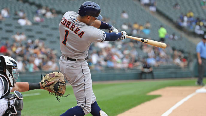 CHICAGO, ILLINOIS - AUGUST 14: Carlos Correa #1 of the Houston Astros bats against the Chicago White Sox at Guaranteed Rate Field on August 14, 2019 in Chicago, Illinois. (Photo by Jonathan Daniel/Getty Images)