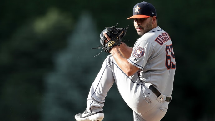 DENVER, COLORADO - JULY 02: Jose Urquidy #65 of the Houston Astros makes his Major League debut, throwing in the first inning against the Colorado Rockies at Coors Field on July 02, 2019 in Denver, Colorado. (Photo by Matthew Stockman/Getty Images)