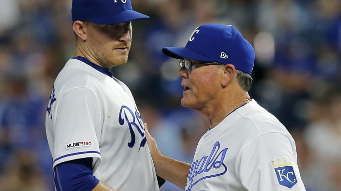 KANSAS CITY, MISSOURI - SEPTEMBER 14: Ned Yost #3 of the Kansas City Royals relieves starting pitcher Mike Montgomery in the sixth inning against the Houston Astros at Kauffman Stadium on September 14, 2019 in Kansas City, Missouri. (Photo by John Sleezer/Getty Images)