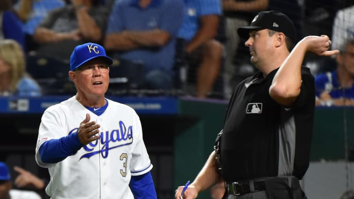 KANSAS CITY, MISSOURI - SEPTEMBER 13:  Manager Ned Yost #3 of the Kansas City Royals is ejected from the game by plate umpire Lance Barrett in the eighth inning against the Houston Astros at Kauffman Stadium on September 13, 2019 in Kansas City, Missouri. (Photo by Ed Zurga/Getty Images)