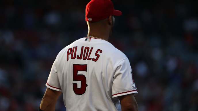 ANAHEIM, CALIFORNIA - JULY 18:  Albert Pujols #5 of the Los Angeles Angels of Anaheim looks on during a game against the Houston Astros at Angel Stadium of Anaheim on July 18, 2019 in Anaheim, California. (Photo by Sean M. Haffey/Getty Images)