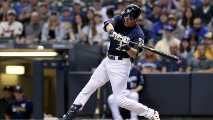 MILWAUKEE, WISCONSIN - SEPTEMBER 02:  Christian Yelich #22 of the Milwaukee Brewers hits a home run in the ninth inning against the Houston Astros at Miller Park on September 02, 2019 in Milwaukee, Wisconsin. (Photo by Dylan Buell/Getty Images)