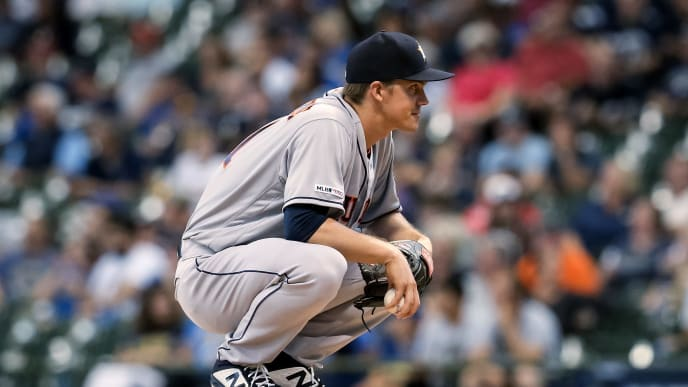 MILWAUKEE, WISCONSIN - SEPTEMBER 03:  Zack Greinke #21 of the Houston Astros stands on the mound in the first inning against the Milwaukee Brewers at Miller Park on September 03, 2019 in Milwaukee, Wisconsin. (Photo by Dylan Buell/Getty Images)