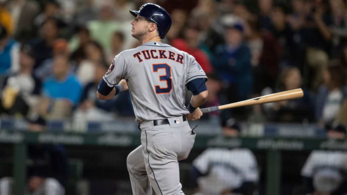 SEATTLE, WA - SEPTEMBER 25: Kyle Tucker #3 of the Houston Astros hits a solo home run off of relief pitcher Matt Magill #61 of the Seattle Mariners during the ninth inning of a game at T-Mobile Park on September 25, 2019 in Seattle, Washington. The Astros won 3-0. (Photo by Stephen Brashear/Getty Images)