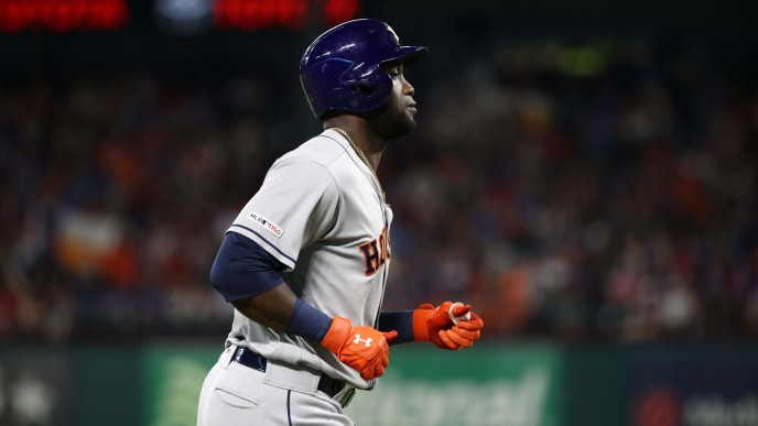 ARLINGTON, TEXAS - JULY 12:  Yordan Alvarez #44 of the Houston Astros runs after hitting a homerun against the Texas Rangers in the seventh inning at Globe Life Park in Arlington on July 12, 2019 in Arlington, Texas. (Photo by Ronald Martinez/Getty Images)