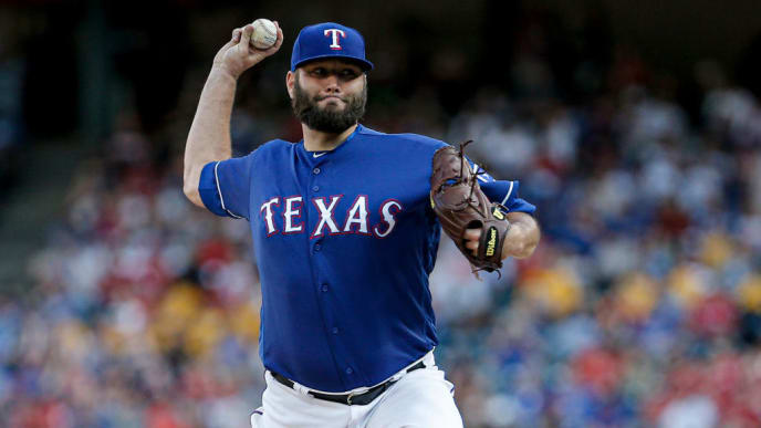 ARLINGTON, TX - JULY 11: Starting pitcher Lance Lynn #35 of the Texas Rangers throws during the first inning of a baseball game against the Houston Astros at Globe Life Park July 11, 2019 in Arlington, Texas. (Photo by Brandon Wade/Getty Images)