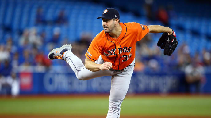 TORONTO, ON - SEPTEMBER 01:  Justin Verlander #35 of the Houston Astros delivers a pitch in the fifth inning during a MLB game against the Toronto Blue Jays at Rogers Centre on September 01, 2019 in Toronto, Canada.  (Photo by Vaughn Ridley/Getty Images)