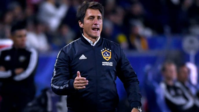 CARSON, CALIFORNIA - APRIL 19:  Head coach Guillermo Barros Schelotto of the Los Angeles Galaxy reacts to play during the first half against the Houston Dynamo at Dignity Health Sports Park on April 19, 2019 in Carson, California. (Photo by Harry How/Getty Images)