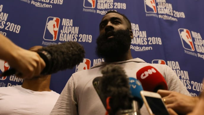 TOKYO, JAPAN - OCTOBER 07: James Harden #13 of Houston Rockets speaks to the media after a practice at a training facility on October 07, 2019 in Tokyo, Japan. (Photo by Takashi Aoyama/Getty Images)