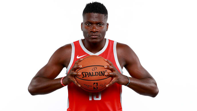 HOUSTON, TX - SEPTEMBER 24:  Clint Capela #15 of the Houston Rockets poses for a portrait during the Houston Rockets Media Day at The Post Oak Hotel at Uptown Houston on September 24, 2018 in Houston, Texas. NOTE TO USER: User expressly acknowledges and agrees that, by downloading and or using this photograph, User is consenting to the terms and conditions of the Getty Images License Agreement.  (Photo by Tom Pennington/Getty Images)