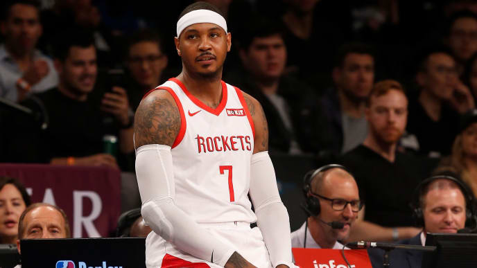 BROOKLYN, NY - NOVEMBER 02:  (NEW YORK DAILIES OUT)    Carmelo Anthony #7 of the Houston Rockets in action against the Brooklyn Nets at Barclays Center on November 2, 2018 in the Brooklyn borough of New York City.  The Rockets defeated the Nets 119-111. NOTE TO USER: User expressly acknowledges and agrees that, by downloading and/or using this photograph, user is consenting to the terms and conditions of the Getty Images License Agreement.  (Photo by Jim McIsaac/Getty Images)