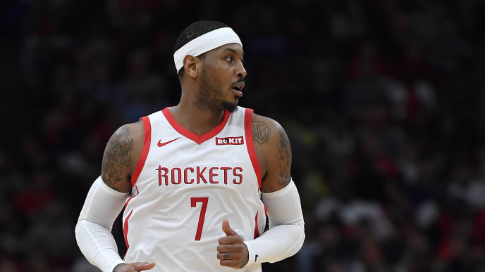 CHICAGO, ILLINOIS - NOVEMBER 03: Carmelo Anthony #7 of the Houston Rockets looks on against the Chicago Bulls at United Center on November 03, 2018 in Chicago, Illinois.  NOTE TO USER: User expressly acknowledges and agrees that, by downloading and or using this photograph, User is consenting to the terms and conditions of the Getty Images License Agreement.  (Photo by Quinn Harris/Getty Images)