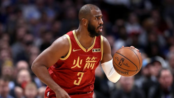 DENVER, COLORADO - FEBRUARY 01: Chris Paul #3 of the Houston Rockets plays the Denver Nuggets at the Pepsi Center on February 01, 2019 in Denver, Colorado. NOTE TO USER: User expressly acknowledges and agrees that, by downloading and or using this photograph, User is consenting to the terms and conditions of the Getty Images License Agreement.  (Photo by Matthew Stockman/Getty Images)