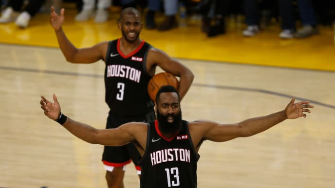 OAKLAND, CALIFORNIA - MAY 08: James Harden #13 and Chris Paul #3 of the Houston Rockets react to a call by the referee during Game Five of the Western Conference Semifinals of the 2019 NBA Playoffs against the Golden State Warriors at ORACLE Arena on May 08, 2019 in Oakland, California. NOTE TO USER: User expressly acknowledges and agrees that, by downloading and or using this photograph, User is consenting to the terms and conditions of the Getty Images License Agreement. (Photo by Lachlan Cunningham/Getty Images)